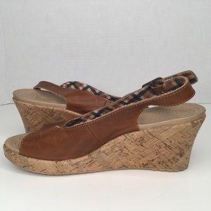 Crocs upper leather wedge sandals.